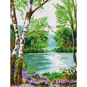 У реки Канва с рисунком для вышивки Каролинка
