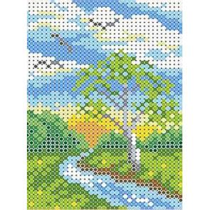 Береза у реки Канва с рисунком для вышивки бисером