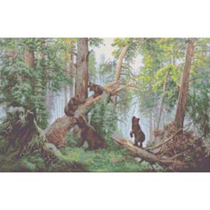 Утро в сосновом лесу Канва с рисунком для вышивки бисером