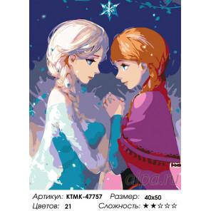 Количество цветов и сложность Дружба сестер Раскраска картина по номерам на холсте KTMK-47757