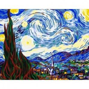Звездная ночь Ван Гог Раскраска по номерам акриловыми красками на холсте Menglei
