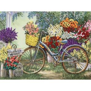 Велосипед в саду Ткань для вышивки лентами Каролинка