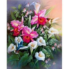 Цветы и колибри Ткань для вышивки лентами Каролинка