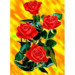Яркие розы Ткань для вышивки лентами Каролинка