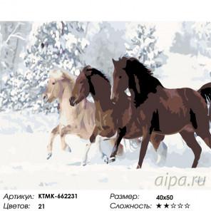 Количество цветов и сложность Кони на зимней прогулке Раскраска по номерам на холсте Живопись по номерам KTMK-662231