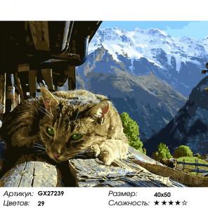 Количество цветов и сложность Горный кот Раскраска картина по номерам на холсте GX27239