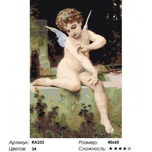 Количество цветов и сложность Античный ангелок Раскраска картина по номерам на холсте RA233