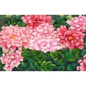 Розовые хризантемы Набор для вышивки лентами Каролинка КЛ(Н)-4009