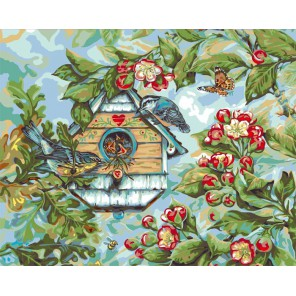 Певчие птицы весной Раскраска картина по номерам акриловыми красками Plaid