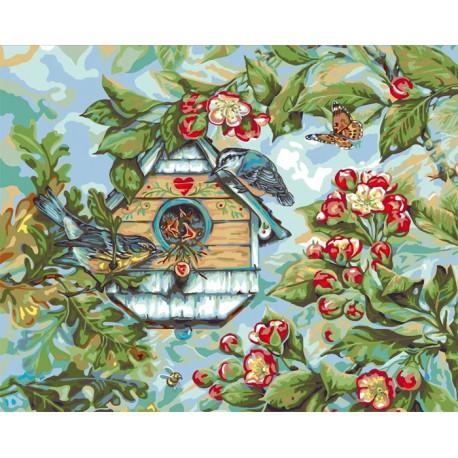 Певчие птицы весной ( художник Донна Рейс) Раскраска ...