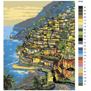Раскладка Огни Positano, Италия (художник Robert Finale) Раскраска по номерам на холсте Живопись по номерам