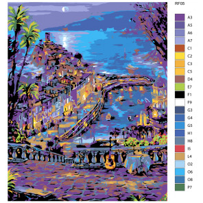 Раскладка Столик на двоих, Италия (художник Robert Finale) Раскраска по номерам на холсте Живопись по номерам