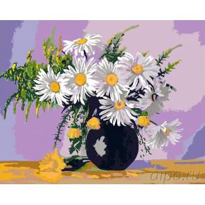 Букет ромашек Раскраска картина по номерам на холсте KRYM-FL04