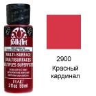 2900 Красный кардинал Для любой поверхности Сатиновая акриловая краска Multi-Surface Folkart Plaid
