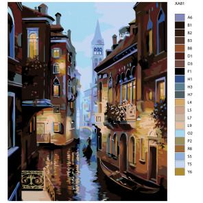 Раскладка Теплый вечер в Венеции Раскраска по номерам на холсте Живопись по номерам KSRV-XA81