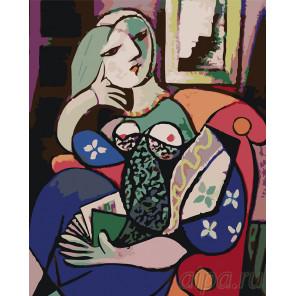 Женщина с книгой Раскраска картина по номерам на холсте KTMK-77079