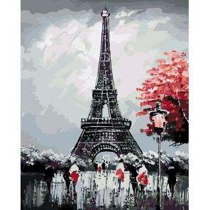 Черно-белый париж Раскраска картина по номерам на холсте KTMK-14723
