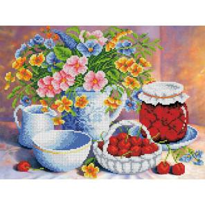 Вишневое варенье Габардин с рисунком для вышивки бисером или крестом Каролинка ТКБЦ 3046
