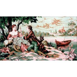 Романтическая прогулка Канва жесткая с рисунком для вышивки Gobelin L