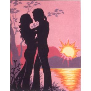 Пара, силуэт на закате Канва жесткая с рисунком для вышивки Gobelin L