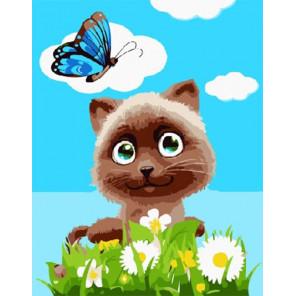 Котик в цветах Раскраска картина по номерам на холсте PKD18002