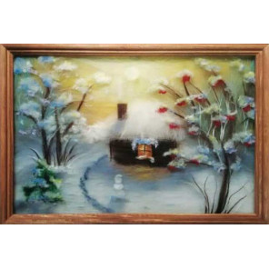 Зимний вечер Картина из шерсти с рамкой SH024
