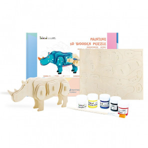 Носорог Деревяный 3Д пазл с красками HC210