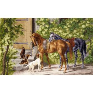 Лошади у крыльца Набор для вышивания Золотое Руно ОО-004
