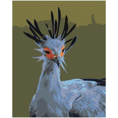 Птица секретарь 80х100 Раскраска картина по номерам на ...