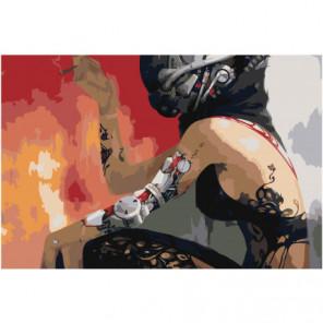 Девушка киборг Раскраска картина по номерам на холсте