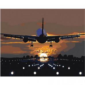 Взлетающий самолет Раскраска картина по номерам на холсте