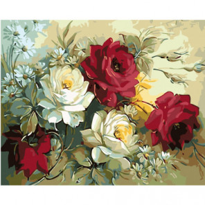Ромашки и пышные розы Раскраска картина по номерам на холсте