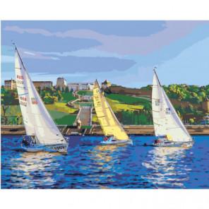 Парусная регата, яхты Раскраска картина по номерам на холсте