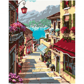 Итальянская улочка 80х100 Раскраска картина по номерам на холсте