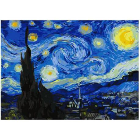 Звездная ночь (Ван Гог) Раскраска картина по номерам на ...