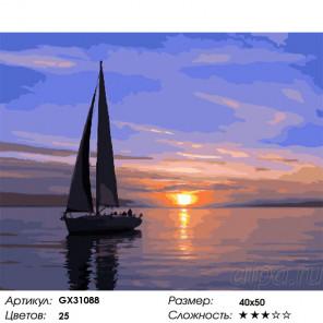 Сложность и количество цветов Отражение заката Раскраска картина по номерам на холсте GX31088