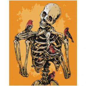 Птицы и скелет Раскраска картина по номерам на холсте