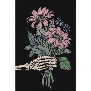 Flowers in skeleton hand Раскраска картина по номерам на холсте
