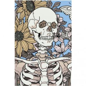 Скелет с цвeтами Раскраска картина по номерам на холсте