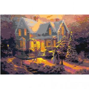 Рождественские домики Раскраска картина по номерам на холсте
