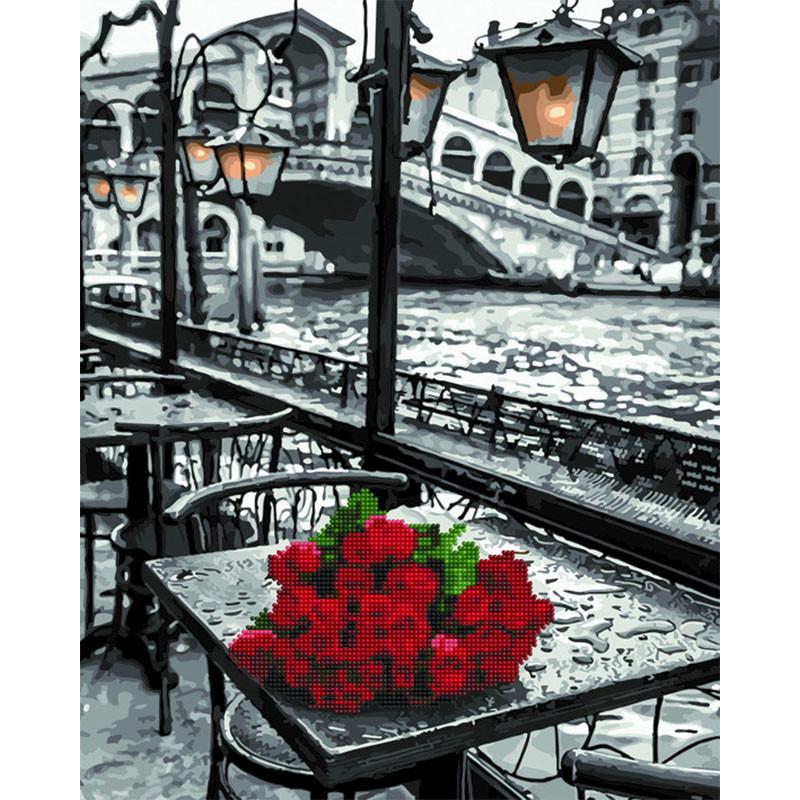 GZS1090 Розы под дождем Алмазная картина-раскраска по ...