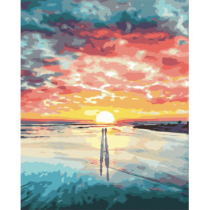 Облачный закат Раскраска картина по номерам на холсте PK51047