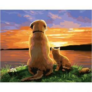 Пес с котенком на закате Раскраска картина по номерам на холсте