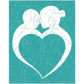 Силуэт с сердцем Раскраска картина по номерам на холсте