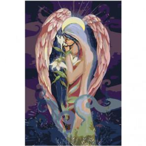 Ангел с цветком Раскраска картина по номерам на холсте