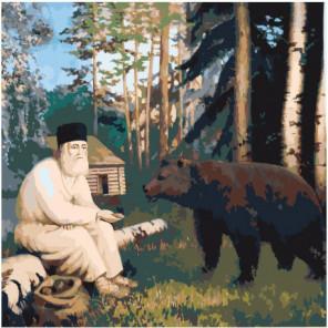 Преподобный Серафим Саровский 80х80 Раскраска картина по номерам на холсте
