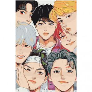 BTS аниме Раскраска картина по номерам на холсте