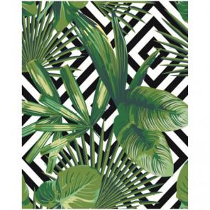 Тропические листья Раскраска картина по номерам на холсте