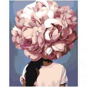 Пионовая цветочная голова девушки Раскраска картина по номерам на холсте
