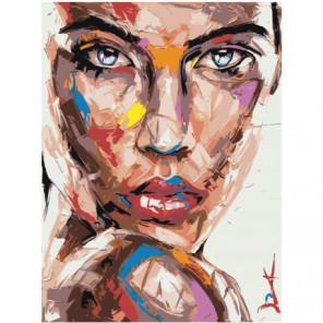 Радужный портрет девушки с голубыми глазами Раскраска картина по номерам на холсте